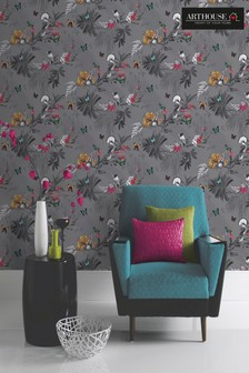 Arthouse Mystical Forest Birds And Leaves Wallpaper