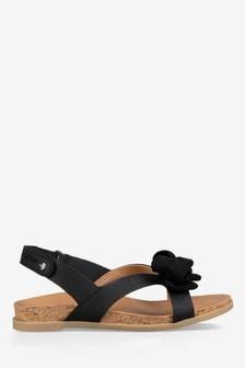 Czarne sandały z kokardą UGG® Fonda