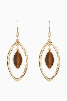 Stone Effect Tear Drop Earrings