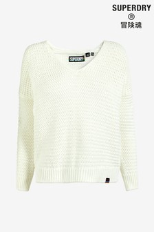 Superdry White Kintted Jumper