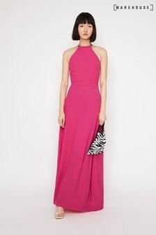 Warehouse Halter Tie Back Maxi Dress