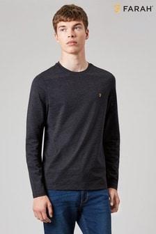 T-shirt slim à manches courtes Farah Denny noir chiné