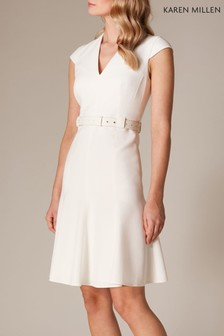 Karen Millen White Sleeveless Fit And Flare Investment Dress