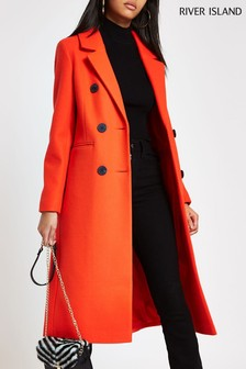 River Island Red Formal Long Line Coat
