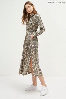 French Connection Cream Snake Shirt Dress