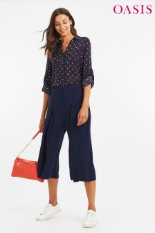 Oasis Blue Split Front Crop Trouser
