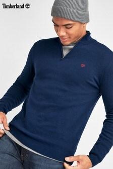 Timberland Navy Merino Half Zip Sweater
