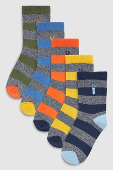 Stripe Embroidery Socks Five Pack (Older)
