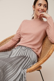 Long Sleeve Slash Neck Top
