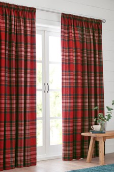 Crafted Thornly Woven Check Pencil Pleat Lined Curtains