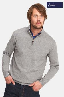 Joules Grey Half Zip Funnel Neck Jumper