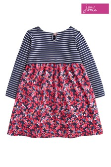 Joules Navy Oak Leaf Print Mix Dress