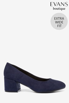 Evans Blue Extra Wide Fit Block Heel Court Shoes