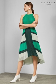 Ted Baker Green Pleat Dress