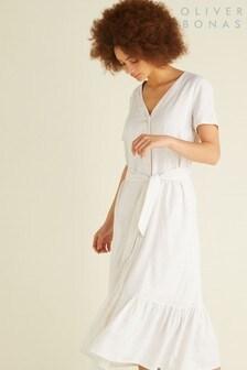 Oliver Bonas White Linen Button Midi Dress