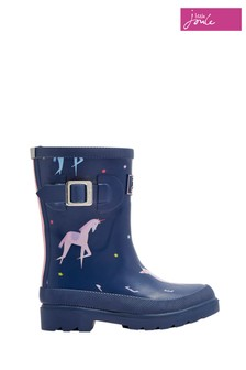 Joules Blue Unicorn Printed Welly