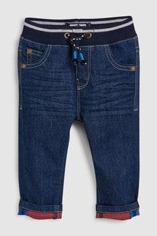 ג'ינס עם גומי במותן ואמרה מתקפלת בצבע מנוגד (3 חודשים-7 שנים)