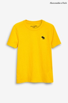 Abercrombie & Fitch Yellow Short Sleeved Basic Crew Tee