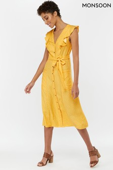 Monsoon Ladies Yellow Aracelli Print Midi Ruffle Dress