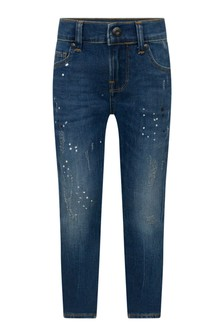 Boys Dark Blue Splash Of Colour Denim Jeans