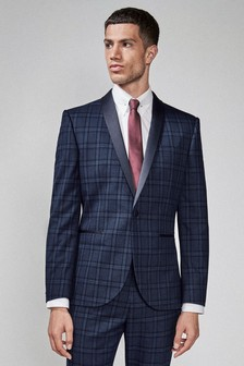 Slim Fit Check Tuxedo Suit: Jacket