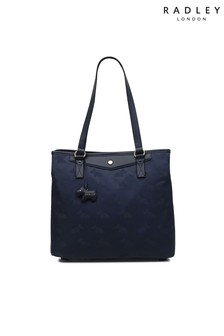 Radley London Blue Jaquard Large Zip Top Tote Shoulder Bag