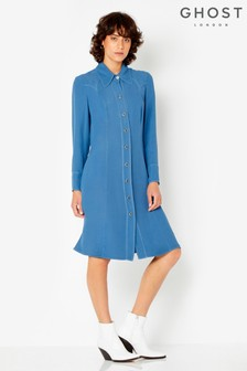 Ghost London Blue Elsie Satin Back Crepe Dress