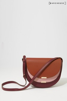 Warehouse Purple Double Flap Crossbody Bag