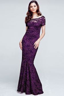 HotSquash Purple Long Lace Maxi Dress