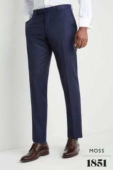 Moss 1851 Tailored Fit Subtle Blue Check Trouser