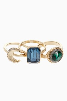Jewel And Moon Motif Ring Pack