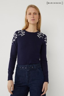 Warehouse Blue Daisy Embroidered Jumper