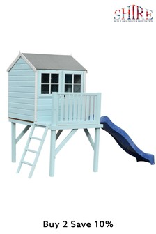 Dovecote Assembled Painted Playhouse With Slide