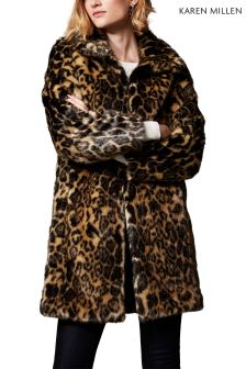 Karen Millen Animal Faux Fur Leopard Print Coat