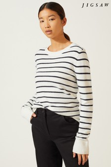 Jigsaw Cream Striped Lace Back Sweater