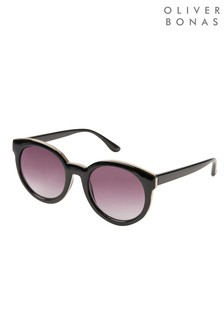 Oliver Bonas Black Rounded Sunglasses