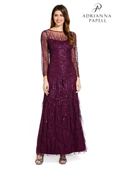 46d17168f79 Adrianna Papell Purple Beaded Long Dress
