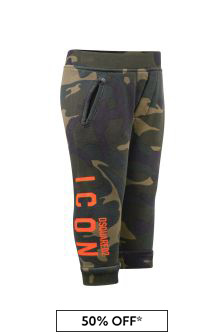 Dsquared2 Kids Baby Green Camouflage Cotton Joggers