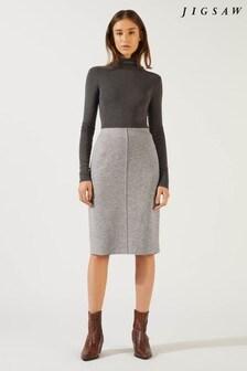 Jigsaw Grey Double Knit Pencil Skirt