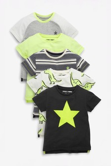 Star and Dino T-Shirts Five Pack (3 мес.-7 лет)