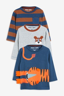 3 Pack Long Sleeve Tiger T-Shirts (3mths-7yrs)