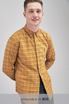 Chemise teintée à carreaux et manches longues