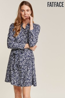 FatFace Blue Shelley Prairie Shirt Dress