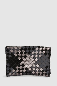 Leather Mix Woven Clutch