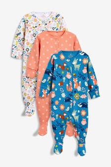 3 Pack Woodland Character Sleepsuits (0mths-2yrs)