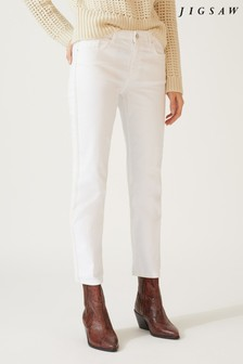 Jigsaw White Herringbone Stripe Dalston Jean