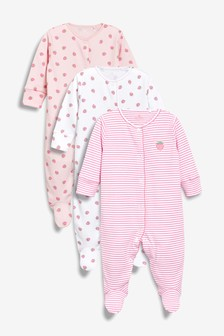 Strawberry Print Sleepsuits Three Pack (0mths-2yrs)