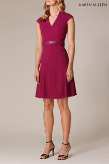Karen Millen Pink Sleeveless Fit And Flare Investment Dress