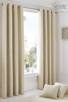 Ebony Floral Jacquard Eyelet Lined Curtains by Serene