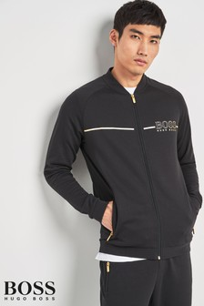 BOSS Black/Gold Zip Through Track Top